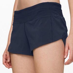 lulu lemon speed up shorts 2.5 4 reg navy blue